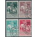 "BELGIUM - 1911 TB Fund (solid background) set of 4, o/p ""1911"", used – Michel # 85II-88II"