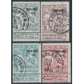 "BELGIUM - 1911 TB Fund (lined background) set of 4, o/p ""CHARLEROI 1911"", used – Michel # 81III-84III"