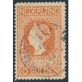 NETHERLANDS - 1913 10G red-orange on yellow Jubilee, perf. 11½:11½, used – NVPH # 101B