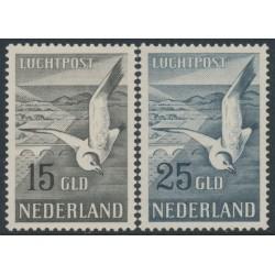 NETHERLANDS - 1951 15G brown-black & 25G grey-blue Seagulls, MNH – NVPH # LP12-LP13