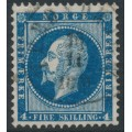 NORWAY - 1856 4Sk dark blue King Oscar I, used – Facit # 4a