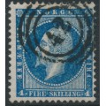 NORWAY - 1856 4Sk blue King Oscar I, used – Facit # 4a