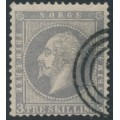 NORWAY - 1857 3Sk lilac-grey King Oscar I, used – Facit # 3