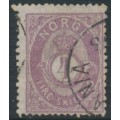 NORWAY - 1875 4Sk violet Posthorn on thin paper, used – Facit # 19c