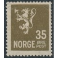 NORWAY - 1927 35øre olive-brown Lion definitive, mint hinged – Facit # 142