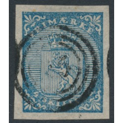 NORWAY - 1855 4 Skilling blue Lion Coat of Arms, used – Facit Cat. # 1