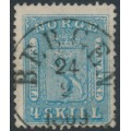 NORWAY - 1863 4Sk blue Coat of Arms, used – Facit # 8a