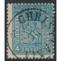 NORWAY - 1867 4Skilling blue Coat of Arms on thick paper, used – Facit # 14a