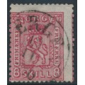 NORWAY - 1866 8Sk carmine Coat of Arms, misplaced perforations, used – Facit # 15a