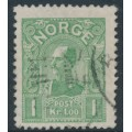 NORWAY - 1907 1Kr light green King Haakon VII (picture size = 16mm x 20mm), used – Facit # 90