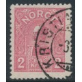 NORWAY - 1907 2Kr rose King Haakon VII (picture size = 16mm x 20mm), used – Facit # 92