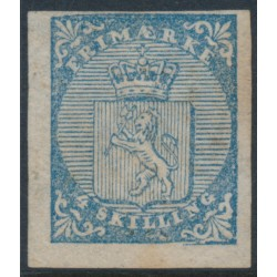 NORWAY - 1855 4Skilling blue Coat of Arms with the variety 'cracked lower right corner', MNG – Facit Cat. # 1v3