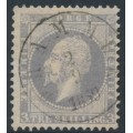 NORWAY - 1857 3Sk lilac-grey King Oscar I, used – Facit # 3a
