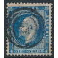 NORWAY - 1856 4Sk King blue Oscar I, used – Facit # 4a