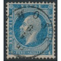 NORWAY - 1856 4Sk pale blue King Oscar I, used – Facit # 4a