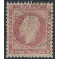 NORWAY - 1856 8Sk pale carmine King Oscar I, with an offset on the back, used – Facit # 5a