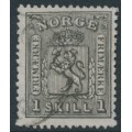 NORWAY - 1868 1Sk black Coat of Arms, used – Facit # 11a
