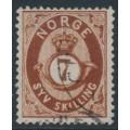 NORWAY - 1873 7 Skilling brown Posthorn, used – Facit # 21
