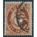 NORWAY - 1873 7 Skilling brown Posthorn, used – Facit # 21