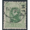 NORWAY - 1878 1Kr green King Oscar II, used – Facit # 34
