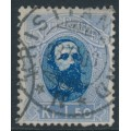 NORWAY - 1878 1.50Kr blue/ultramarine King Oscar II, used – Facit # 35