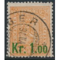 NORWAY - 1905 1.00Kr on 2Sk deep orange Lion, used – Facit # 87a