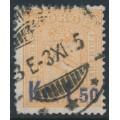 NORWAY - 1905 1.50Kr on 2Sk pale orange Lion, used – Facit # 88a