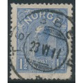 NORWAY - 1907 1½Kr light ultramarine King Haakon VII (picture size = 16mm x 20mm), used – Facit # 91