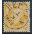 NORWAY - 1857 2Sk orange-yellow King Oscar I, used – Facit # 2a