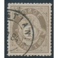 NORWAY - 1877 1øre brown-grey Posthorn (shaded), blurry print, used – Facit # 22a