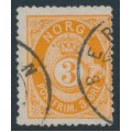 NORWAY - 1877 3øre orange Posthorn (shaded), used – Facit # 23