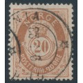 NORWAY - 1882 20øre brown Posthorn (unshaded, picture height = 21mm), used – Facit # 43