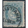 NORWAY - 1883 20øre greenish blue Posthorn (unshaded, picture height = 21mm), used – Facit # 44Bbb