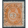 NORWAY - 1886 3øre reddish orange Posthorn (unshaded, picture height = 20mm), used – Facit # 51IIa