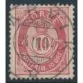 NORWAY - 1886 10øre carmine-rose Posthorn (unshaded, picture height = 20mm), used – Facit # 53VII