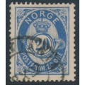 NORWAY - 1886 20øre ultramarine Posthorn (unshaded, picture height = 20mm), used – Facit # 54d