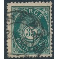 NORWAY - 1895 35øre blue Posthorn, perf. 13½:12½, used – Facit # 71