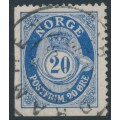 NORWAY - 1910 20øre ultramarine Posthorn, perf. 14½:13½, booklet stamp, used – Facit # 111D¹