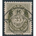 NORWAY - 1919 35øre olive-brown Posthorn, perf. 14½:13½, used – Facit # 117