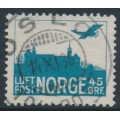 NORWAY - 1934 45øre green-blue Airmail (distinct frame), used – Facit # 158b