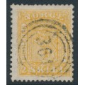 NORWAY - 1863 2Sk yellow Coat of Arms, used – Facit # 6v