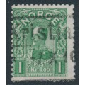 NORWAY - 1909 1Kr green King Haakon VII (picture size = 17mm x 21mm), used – Facit # 93