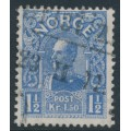 NORWAY - 1910 1½Kr ultramarine King Haakon VII (picture size = 17mm x 21mm), used – Facit # 94