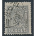 NORWAY - 1863 3Sk lilac-grey Coat of Arms, used – Facit # 7a