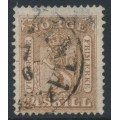 NORWAY - 1863 24Sk brown Coat of Arms, used – Facit # 10a
