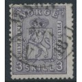NORWAY - 1868 3Sk grey-violet Coat of Arms, used – Facit # 13a