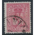 NORWAY - 1866 8Sk carmine-rose Coat of Arms, used – Facit # 15a