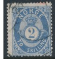 NORWAY - 1872 2Sk grey-blue Posthorn, used – Facit # 17a