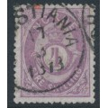 NORWAY - 1872 4Sk deep violet Posthorn, thin bluish paper, used – Facit # 19aa
