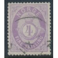 NORWAY - 1872 4Sk violet Posthorn, thick paper, used – Facit # 19b